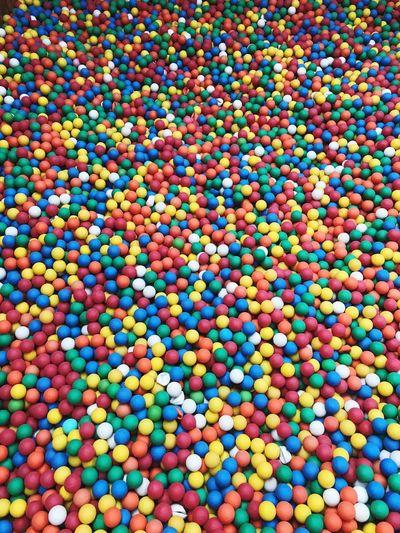 Full frame shot of multi colored polystyrene balls