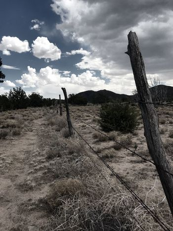 """""""South Bound Juárez"""" A cattle trail follows a fence line southbound in New Mexico. Fencepost Barbed Wire Fence Barbed Wire SouthBound Fenceline Cow Trail Mountains Clouds And Sky Dramatic Sky New Mexico Skies New Mexico Photography Cloudscape New Mexico Cloud - Sky Sky Land Nature"""