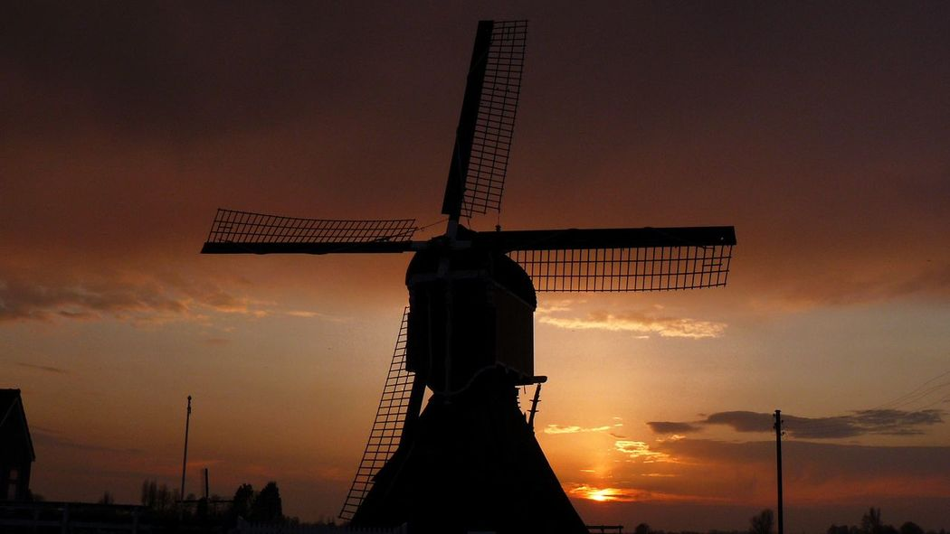 Hollandse Molen Dutchwindmill Silhouette Zonsondergang Nederland
