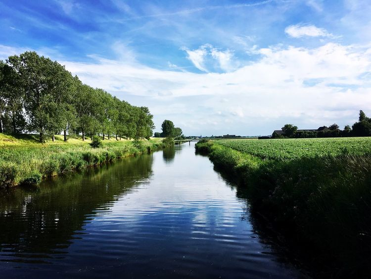 Dutch channel. Water Nature Tranquil Scene Landscape Outdoors Beauty In Nature Scenics Reflection Sky Tree Tranquility Growth Lake Green Color No People Cloud - Sky Day Waterfront Blue Grass Dutch Landscape Dutch Countyside Dutch Landscapes Dutch Canals