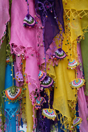 colorful cotton scarves with crocheted oya edging Adornment Blue Close-up Crocheted Cultures Decorative Flowers Handmade Lace Multi Colored Oya Pink Color Purple Scarves Textile Tradition Traditional Clothing Yellow Color