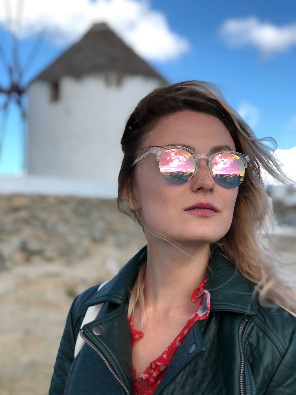 Close-Up Of Beautiful Woman Wearing Sunglasses