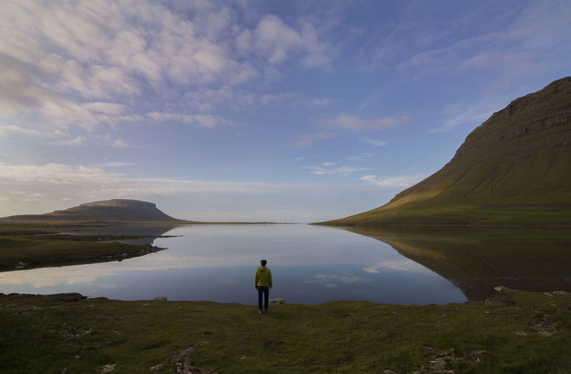 Iceland Lost In The Landscape Reflection Beauty In Nature Cloud - Sky Men Mountain Nature One Person Outdoors Scenics Sky Standing Symmetry Tranquil Scene Tranquility Water