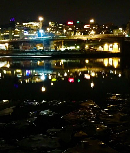 Slussen Waysofseeing Night Illuminated Reflection Water City Building Exterior No People Architecture Built Structure River Outdoors Nature Ice Neon Lights Eyem Best Shots Capital City From My Point Of View EyeEm Best Shots EyeEm Eye4photography  EyeEmNewHere EyeEmBestPics Winter Low Angle View City