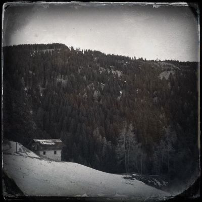 There is still snow at the mountainhut Blackandwhite Hipstamatic The_guido