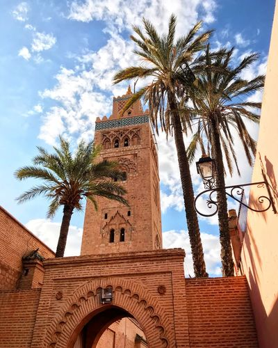 [ Marrakech ] Getaway in Marrakesh, Morroco. So yes... streets can be narrow, it can be noisy, places can be super crowded, but hell the city is charming! Fund of the colors and the folklore. Everywhere. Architecture_collection Architecturelovers Architecture Trip Photo Trip Religious Architecture Religious  Culture Moroccan Voyage Palm Tree Warm Colors Mosque Mosque Architecture Marrakesh Marrakech Getaway  Traveling Travel Travel Destinations Africa Morocco Maroc Low Angle View Building Exterior Travel Destinations Religion History Building Cloud - Sky
