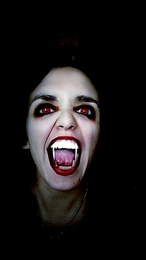 Vampire Scary Dark Blood Redblood Looking At Camera Human Body Part Redeyes Snapchat Me WOW Human Lips Mouth Open One Woman Only Monster Nightlife