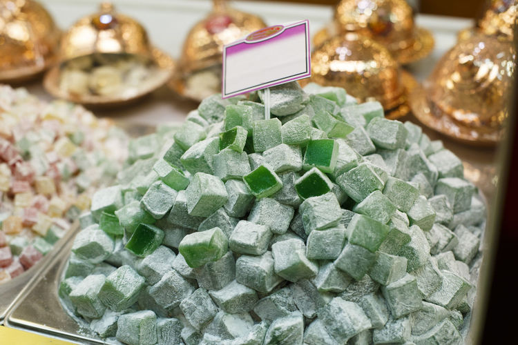 High angle view of candies at store for sale