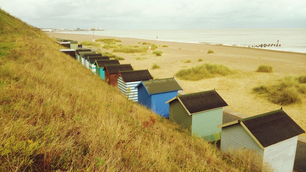 Beach Sand Sea Day Landscape Sand Dune Outdoors Water Nature No People Scenics Shadow Vacations Grass Beauty In Nature Sky Horizon Over Water Beach Hut Beach Huts Sand Lowestoft First Eyeem Photo