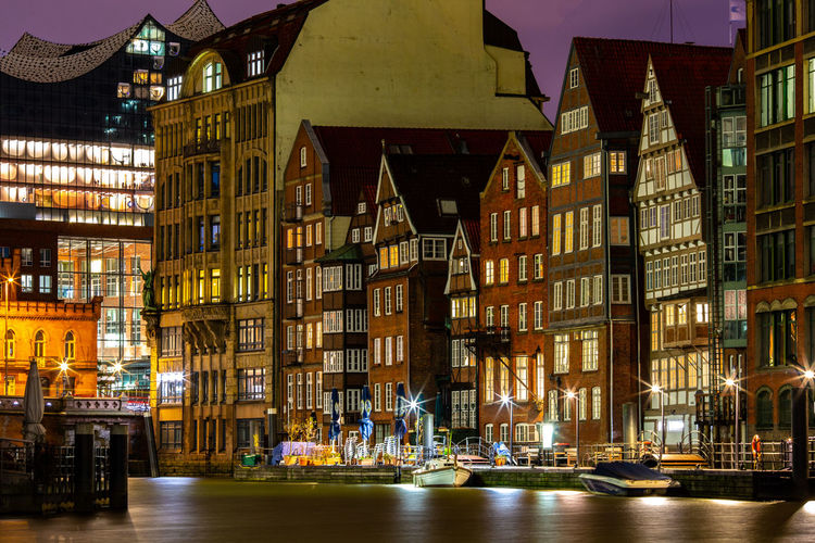 Building Exterior Architecture Built Structure Illuminated Building City Night Outdoors Hamburg, Hamburger Hafen No People Travel Destinations Water Waterfront Travel Reflection