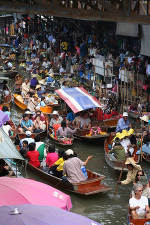 Abundance Arrangement Boats City Life Crowd Day Display Floating Market For Sale Group Of Objects Market Market Stall Market Vendor Outdoors Retail  Thailand Tourism Tourists Variation