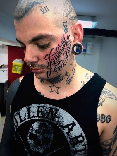 Tattoo face ! Drawing Neotraditionaltattoo Black Lettring Tattooface Tattooartist  Tattoo