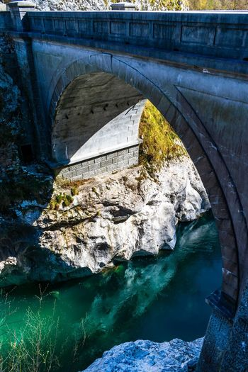 Bridge over Soča river in Slovenia Water Reflection River Arch Bridge Bridge Bridge - Man Made Structure