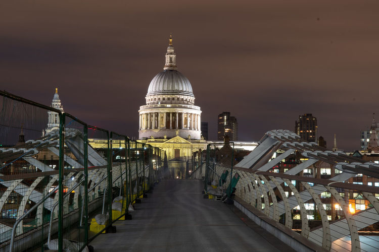 View from the millenium bridge of saint pauls cathedral at night