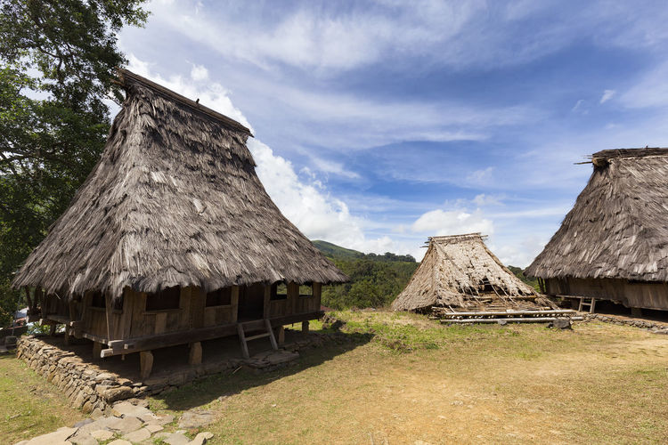 Two traditional houses flanking a damaged house in the Wologai village near Kelimutu in East Nusa Tenggara, Indonesia. Coffee Houses INDONESIA Moni Rice Tourist Travel Tree Art Attraction Authentic Culture Destination East Nusa Tenggara Ethnic Hard Wood House Kelimutu Landmark Sculpture Tourism Traditonal Tribe Village Wologai