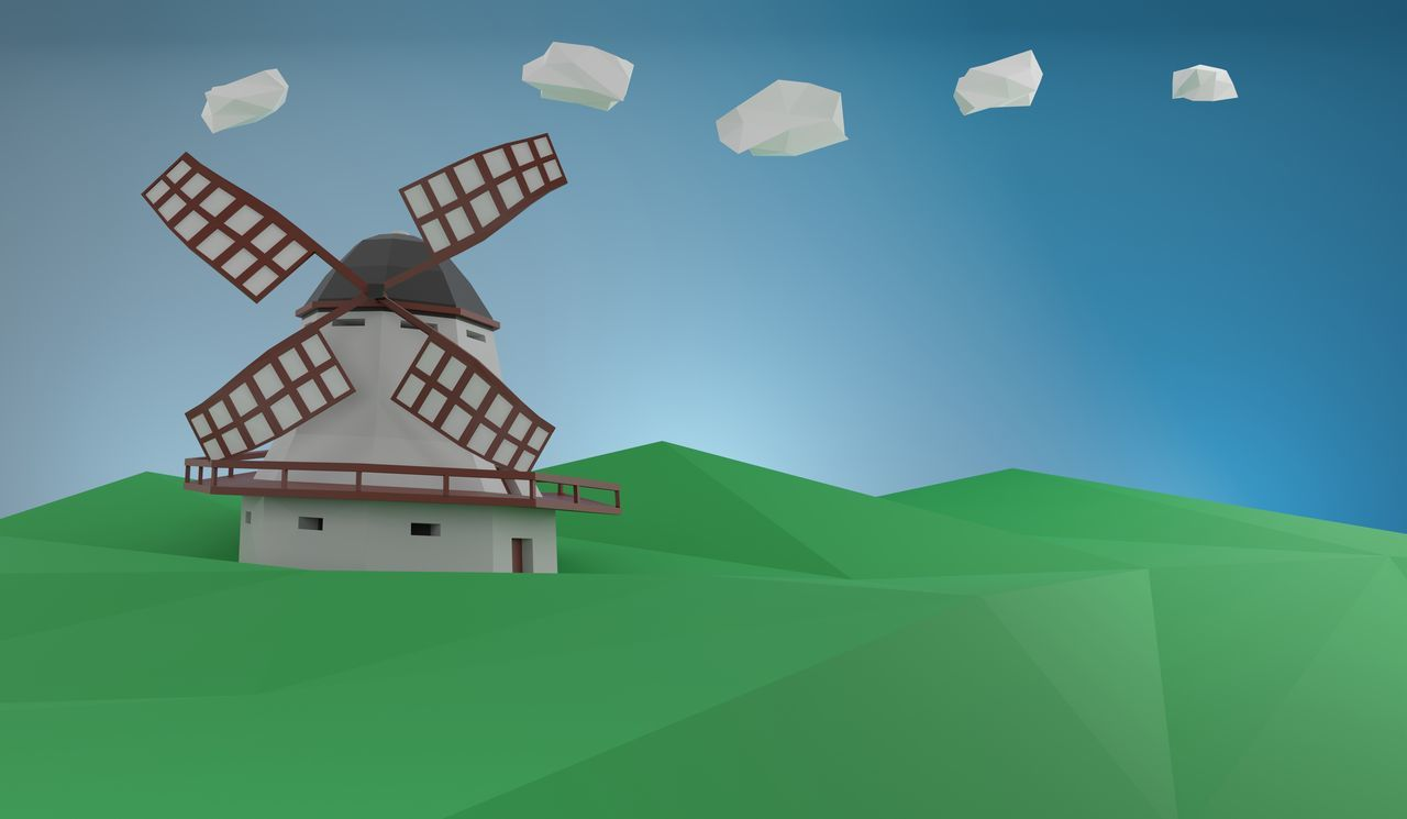 LOW ANGLE VIEW OF TRADITIONAL WINDMILL AGAINST BUILDING
