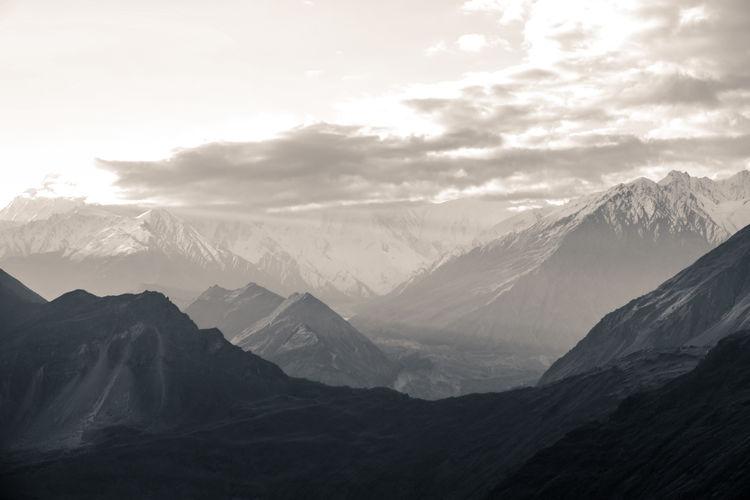 Nature landscape view of high mountains in karakoram range in hunza valley, pakistan.