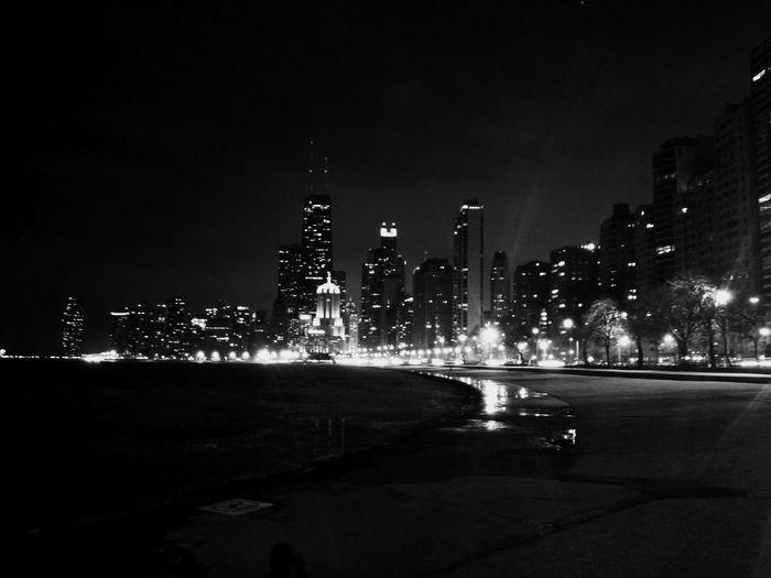 Late nights in the city Chicago Lake Michigan Lakefront John Hancock Building Blackandwhite Sony Lens