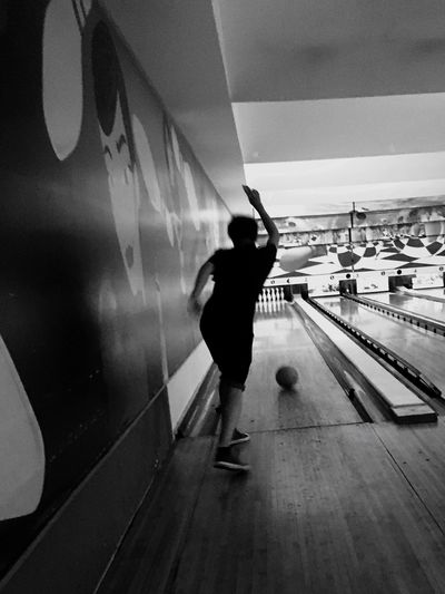 Bowling time. Bowling Today Great Performance Great Atmosphere Wonderful Company Wonderful Time Together Leisure Activity Indoors  Cascais Portugal Bowling Club Lifestyles Black & White Black And White Photography B&W Collection Catch The Moment Movement Photography