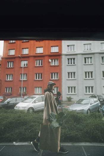 Rear view of woman on car against city