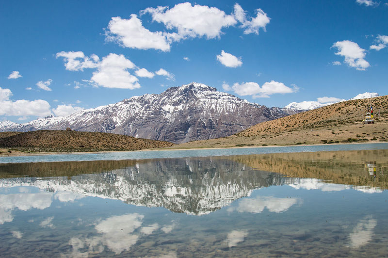 Scenic view of reflection on lake by snowcapped mountains against sky dhankar lake himachal pradesh