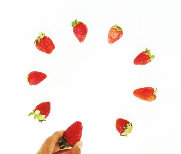 EyeEm Selects White Background Red Close-up Minimal Flatlay Flatlayphotography Minimalism Handsinframe Strawberries Jj_minimalism Jj_minimalarts Minimalobsession Minimalist Photography  Minimalism Photography EyeEmNewHere Crafted Beauty