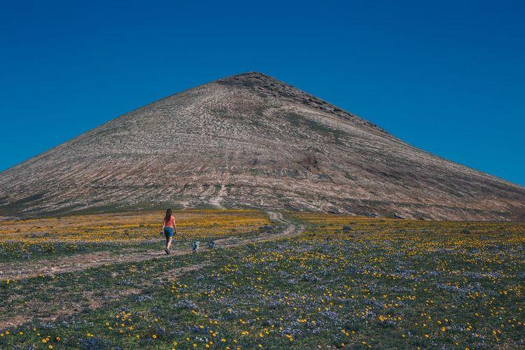 Full length of man climbing on land against clear blue sky
