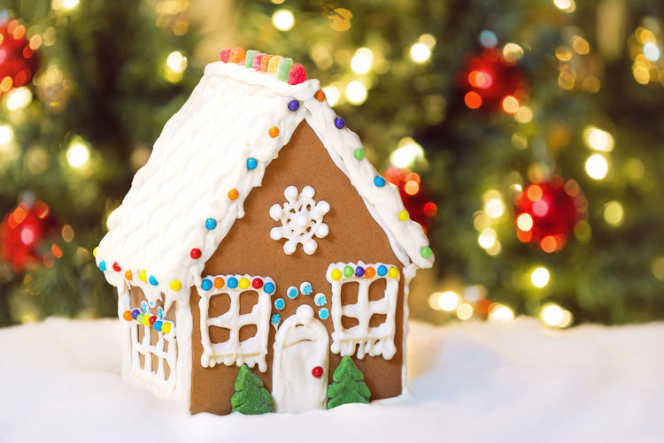 Close-up of christmas decorations and gingerbread house