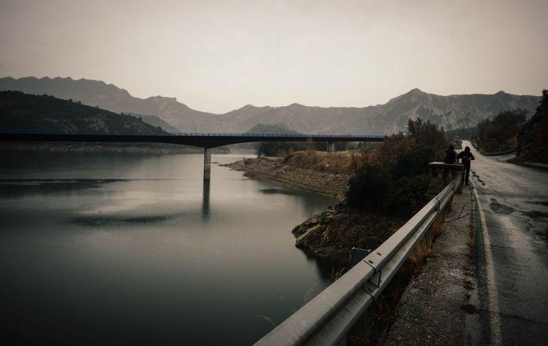 Road passing through riverside