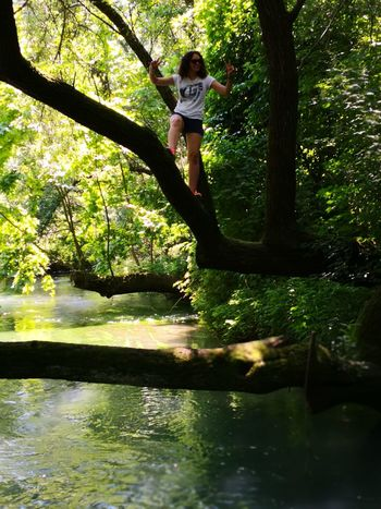 Advebture Explorer Dayoff Sunnyday☀️ Waterreflections  Summer Intothewild Tree Water Full Length Forest Standing Women Lake Smiling Childhood Tree Trunk Branch Hiker Woods Tranquil Scene Calm