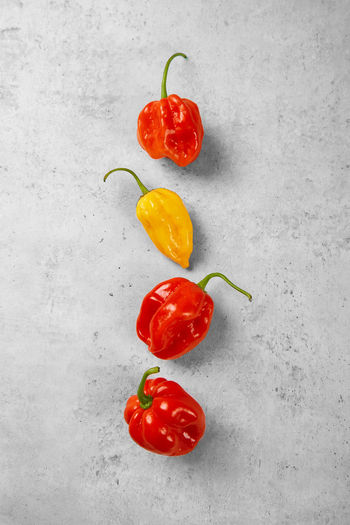 High angle view of red chili peppers against white background