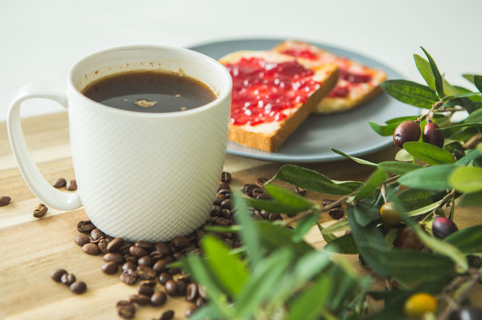 Morning coffee with toast and marmelade Coffee Time Brakefast Close-up Coffee - Drink Coffee Cup Day Drink Food Food And Drink Freshness Healthy Eating Indoors  Indulgence Marmelade No People Ready-to-eat Refreshment Selective Focus Still Life Sweet Food