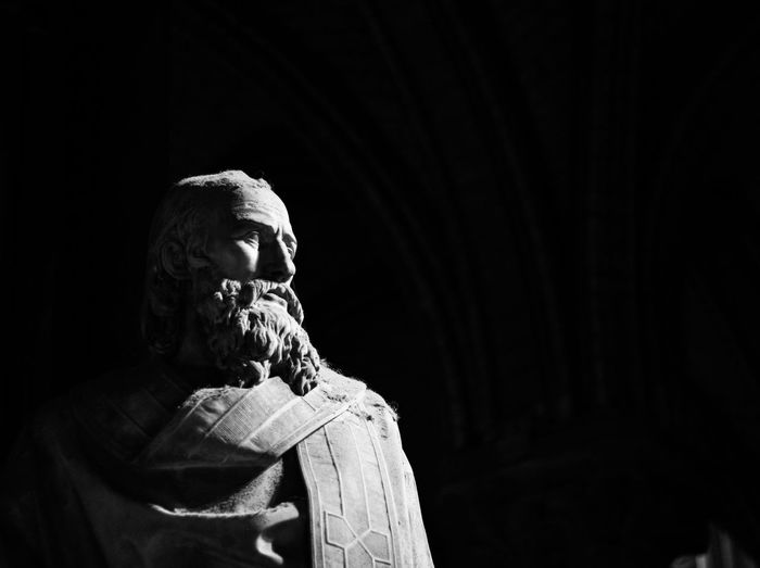 Church Notre Dame De Paris Paris Adult Adults Only Blackandwhite Close-up Day Depression - Sadness Indoors  Lifestyles Light And Shadow Marble One Person People Pleading Real People Religion Sculpture Senior Adult