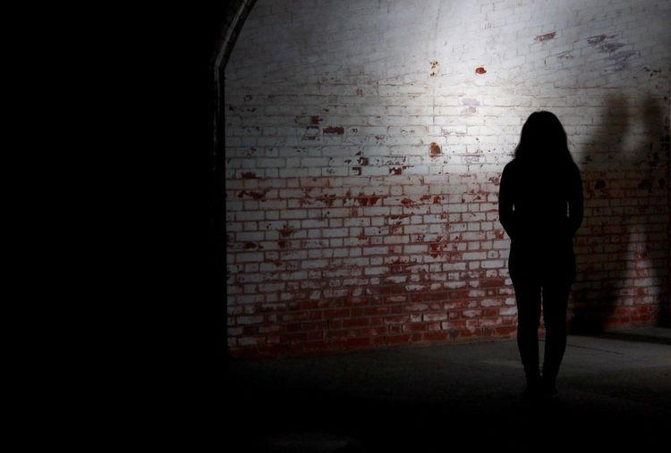 Rear view of silhouette woman standing against brick wall