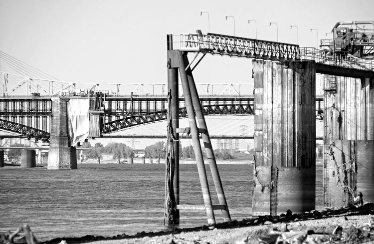 Shapes Mississippi River Industrial Blandwhite Black And White Fishing Bridge Down By The River Riverside Photography Saint Louis