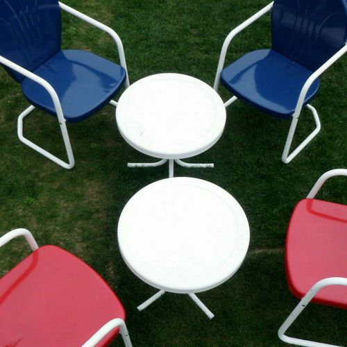 EyeEm Best Shots The OO Mission Vintage Lawn Furniture Red, White & Blue Table/chairs EyeEm Gallery Outdoor Chair Turf Lawn Yard Circle Neat