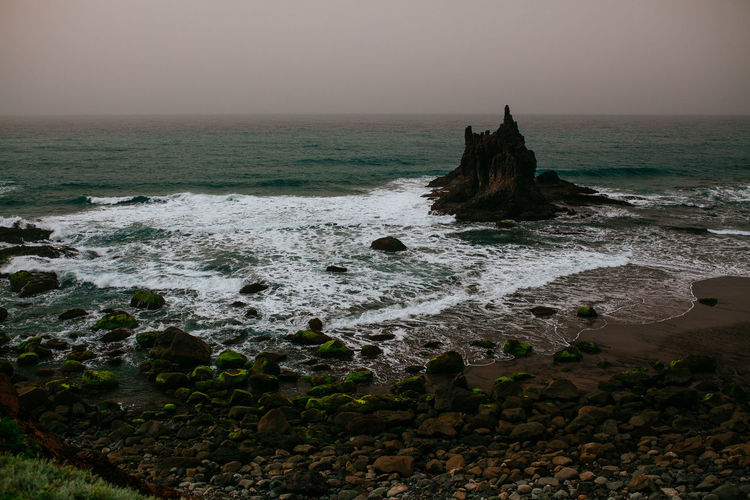 Benijo beach - Tenerife Calima Ocean View Oceanside Rock Formation SPAIN TeamCanon Beach Horizon Horizon Over Water Land Motion Nature No People Outdoors Rock Rock - Object Scenics - Nature Sea Sky Solid Tenerife Tranquil Scene Tranquility Water Wave