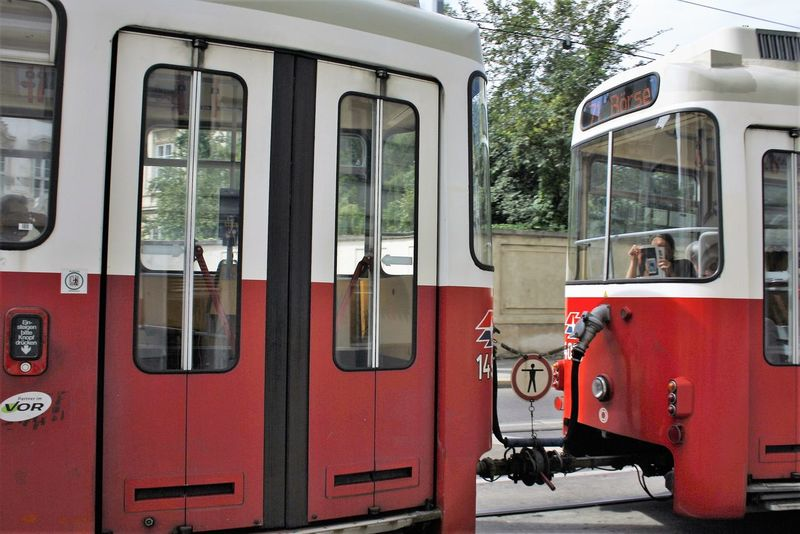 City Life Day Feelthejourney On The Move Outdoors Public Transport Red Tram Transportation Vienna Wien Zerozomermissies2016