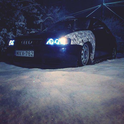 Stickerbomb Snow Airride Audi A3 Car Land Vehicle No People Night
