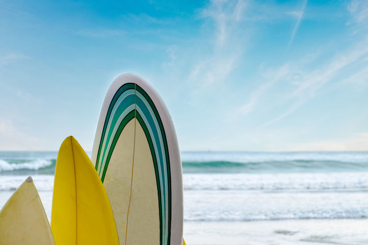 Surfboards stand in a row against the waves and blue sky, concept of leisure, sports lifestyle,