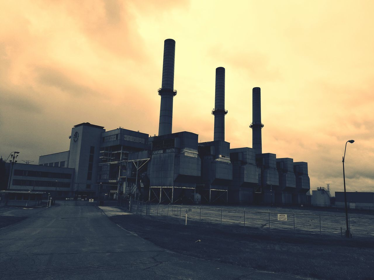 industry, sky, built structure, factory, architecture, smoke stack, building exterior, no people, outdoors, cloud - sky, sunset, day