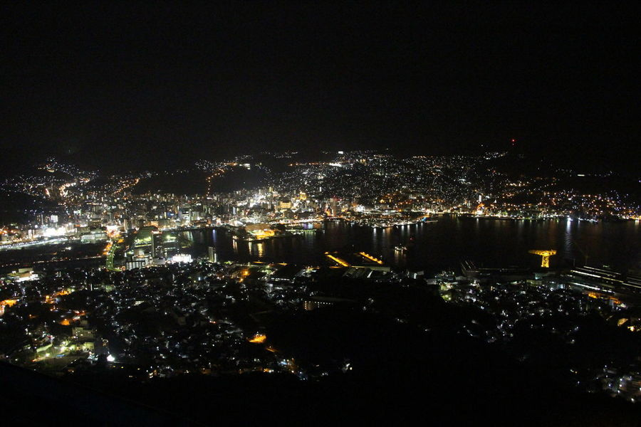 Aerial View Architecture Building Exterior Built Structure City Cityscape Illuminated Inasa Japan Modern Nagasaki Night No People Outdoors Sky Water