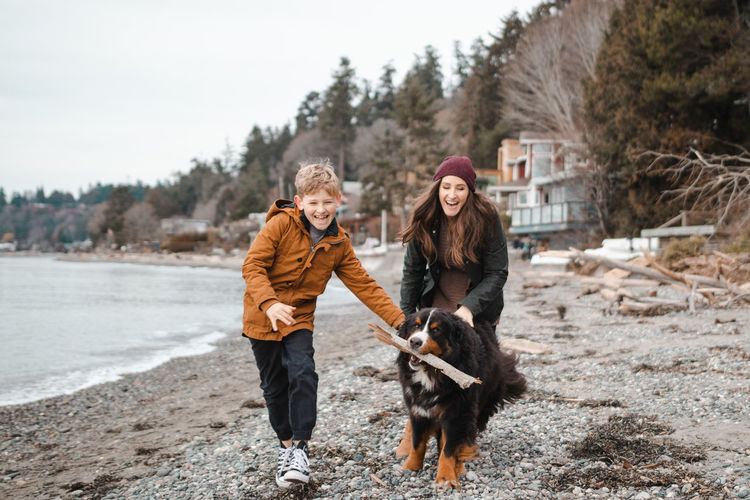 Cheerful mother and son with dog carrying wood in mouth at beach