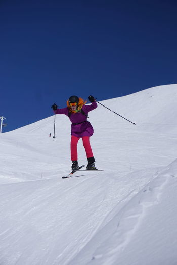 Skiing in Montgenevre Skiing Adventure Cold Temperature Day Full Length Holiday Leisure Activity Lifestyles Mountain Mountain Range Nature One Person Real People Ski Pole Ski-wear Skiing Snow Sport Trip Vacations Warm Clothing Winter Winter Sport