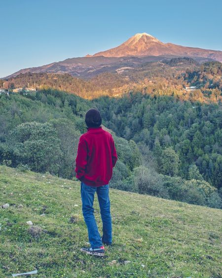 Mountain View. Rear View One Person Full Length Sky People Outdoors Mountain Nature Landscape, Travel Destinations Colors Tranquil Scene Beauty In Nature Orizaba Landscape_photography Natural Mexico Sunlight Dawn Morning Light Mountains Travel Volcano Portrait Adventure