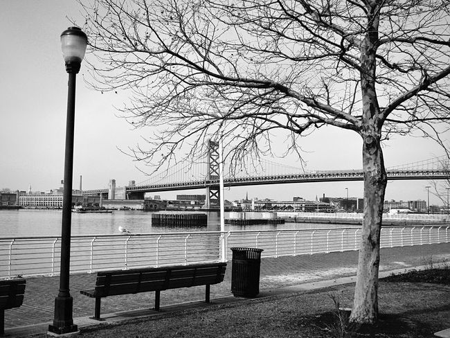 Monochrome Photography Water Street Light Bench Bare Tree Lake Park Bench Tranquility Tranquil Scene Empty Calm River Day Pier In A Row Scenics Jetty Nature Sea Ocean Repetition Blackandwhite Black And White Bridge Urban