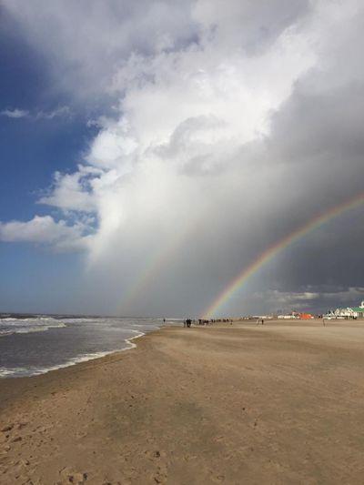 EyeEm Gallery EyeEmNewHere Nordwijk Katwijk Aan Zee Netherlands Double Rainbow Beauty In Nature Cloud - Sky Sky Beach Sea Rainbow Water Outdoors Horizon Over Water Day