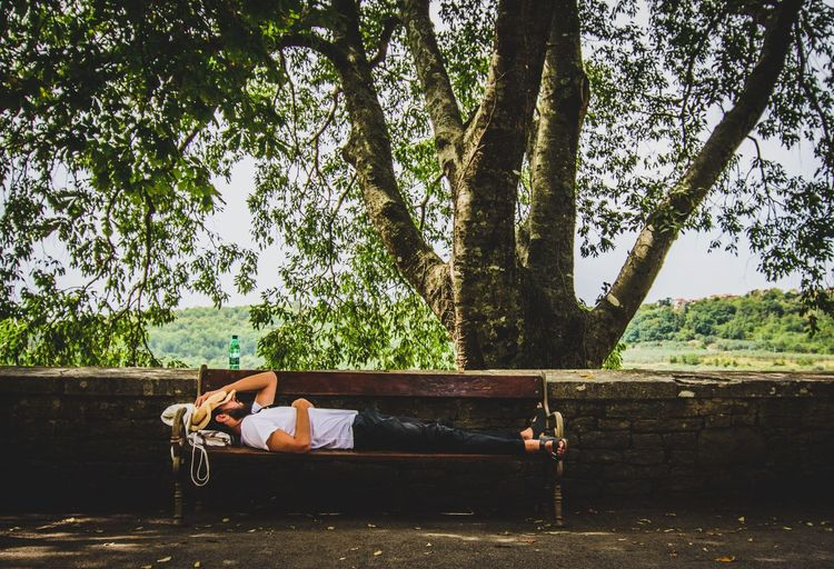 Guy taking a little nap in beautiful Grožnjan. A historical artist village in Istria/Croatia Nature Picnic Relaxing Break Countryside Lifestyles Outdoors Pause Peaceful Real People Relax Relaxation Sleeping Tree