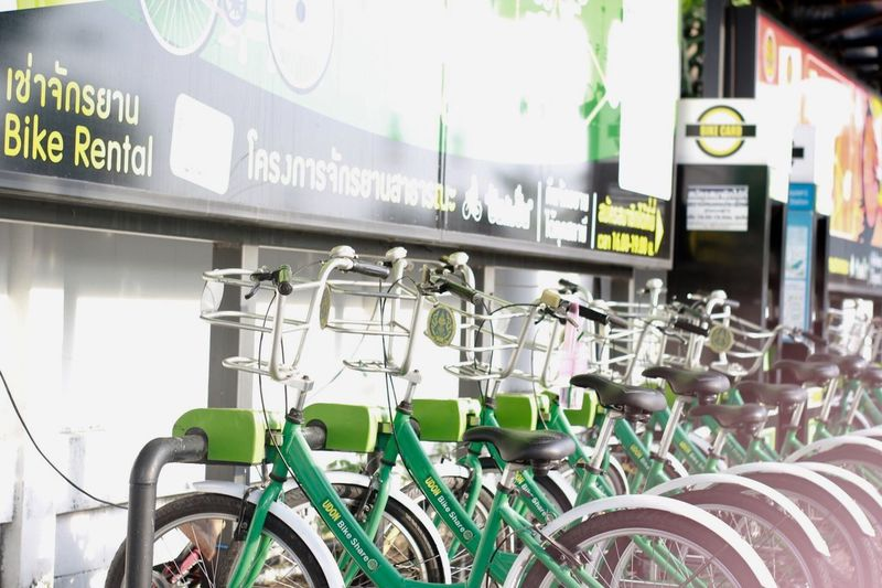 Bicycles in row at store