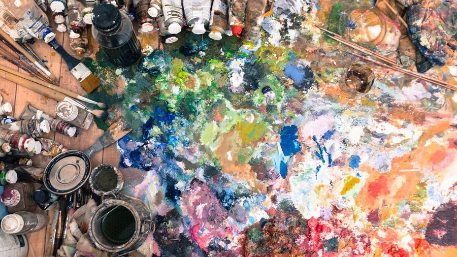 From the desk of oil painter Colors Color Palette Colorsplash Equipment Oil Colour Brushes Painting Brushes Art, Drawing, Creativity Desks From Above High Angle View Multi Colored Studio No People Pantone Colorful Oil Paint
